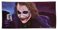 Heath Ledger As The Joker Painting Beach Towel