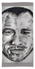 Heath Ledger Charcoal Sketch Beach Towel by Dushyant Kumar