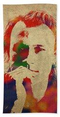 Heath Ledger Watercolor Portrait Beach Towel