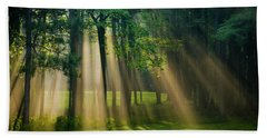 Beach Towel featuring the photograph Heavenly Light Sunrise by Christina Rollo