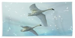 Beach Towel featuring the photograph Heavenly Swan Flight by Patti Deters