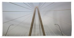 Heavy Fog At Arthur Ravenel Jr Bridge Beach Sheet
