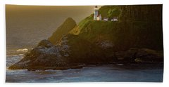 Heceta Head Lighthouse At Sunset Beach Towel
