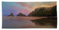 Heceta Head Lighthouse Foggy Sunset Beach Towel