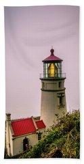 Heceta Head Lighthouse In The Fog Beach Towel