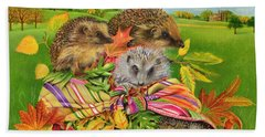 Hedgehogs Inside Scarf Beach Towel