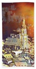 Beach Towel featuring the painting Heidelberg Sunset- Germany by Ryan Fox