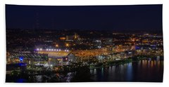 Heinz Field At Night From Mt Washington Beach Towel