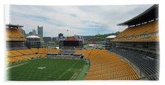 Heinz Stadium With Pittsburgh Skyline Beach Towel