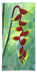 Beach Towel featuring the painting Heliconia  by Darice Machel McGuire