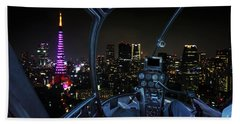 Helicopter In Tokyo Cityscape Beach Towel