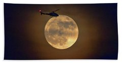Helicopter Moon And Clouds I Beach Towel