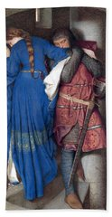 Beach Towel featuring the drawing Hellelil And Hildebrand Or The Meeting On The Turret Stairs by Frederic William Burton