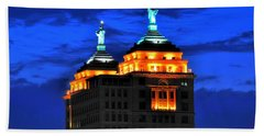 Hello Goodbye In Stormy Skies Atop The Liberty Building Beach Towel by Michael Frank Jr