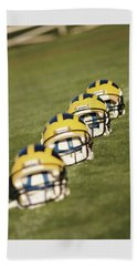 Helmets On Yard Line Beach Towel