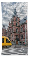 Beach Towel featuring the photograph Helsingor Train Station by Antony McAulay