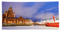 Beach Towel featuring the photograph Helsinki By Night by Delphimages Photo Creations
