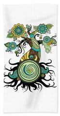 Henna Tree Of Life Beach Towel by Serena King