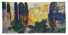 Beach Towel featuring the painting Henri Edmond Cross French Les Cypres A Cagnes by Artistic Panda