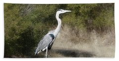 Beach Towel featuring the photograph Henry The Heron by Benanne Stiens