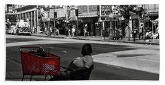 Beach Towel featuring the photograph Her Red Cart by Lorraine Devon Wilke