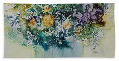 Beach Towel featuring the painting Herbal Bouquet by Joanne Smoley