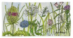 Herbs And Flowers Beach Towel