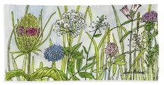 Herbs And Flowers Beach Towel