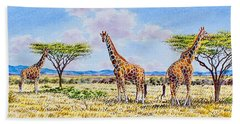 Herd Of Giraffe Beach Towel