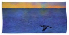 Beach Sheet featuring the photograph Heron Across The Sea by Jan Amiss Photography