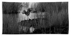 Heron And Grass In B/w Beach Towel