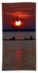 Heron And Kayakers Sunset Beach Towel