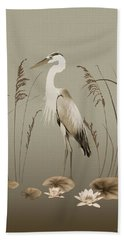 Heron And Lotus Flowers Beach Towel