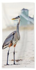 Heron And The Beach House Beach Towel