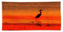 Heron At Dawn Beach Towel
