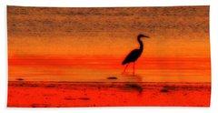 Heron At Dawn Beach Sheet