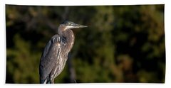 Heron At Sunrise Beach Towel