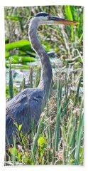 Heron By The Riverside Beach Towel