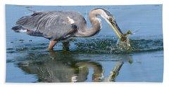 Great Blue Heron Catches A Fish Beach Sheet