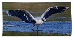Beach Towel featuring the photograph Heron Full Spread by Sue Harper