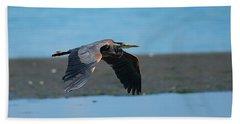 Heron In Flight Beach Sheet