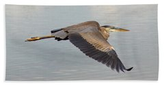 Heron In Flight Beach Towel