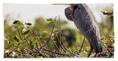 Heron In Nest Beach Towel