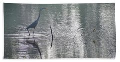 Beach Sheet featuring the photograph Heron In Pastel Waters by Skip Willits