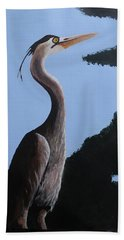 Heron In The Trees Beach Towel