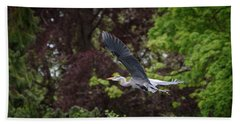 Heron In The Woods Beach Towel