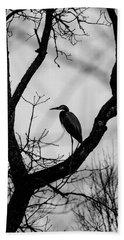 Heron In Tree Beach Towel