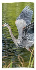 Heron Liftoff Beach Towel