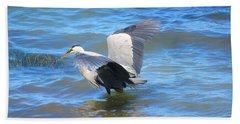 Heron On Bellingham Bay Beach Towel