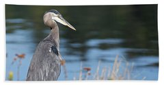 Beach Towel featuring the photograph Heron On Pause by Sue Harper